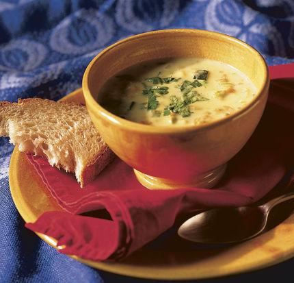 Golden Squash Blossom Soup