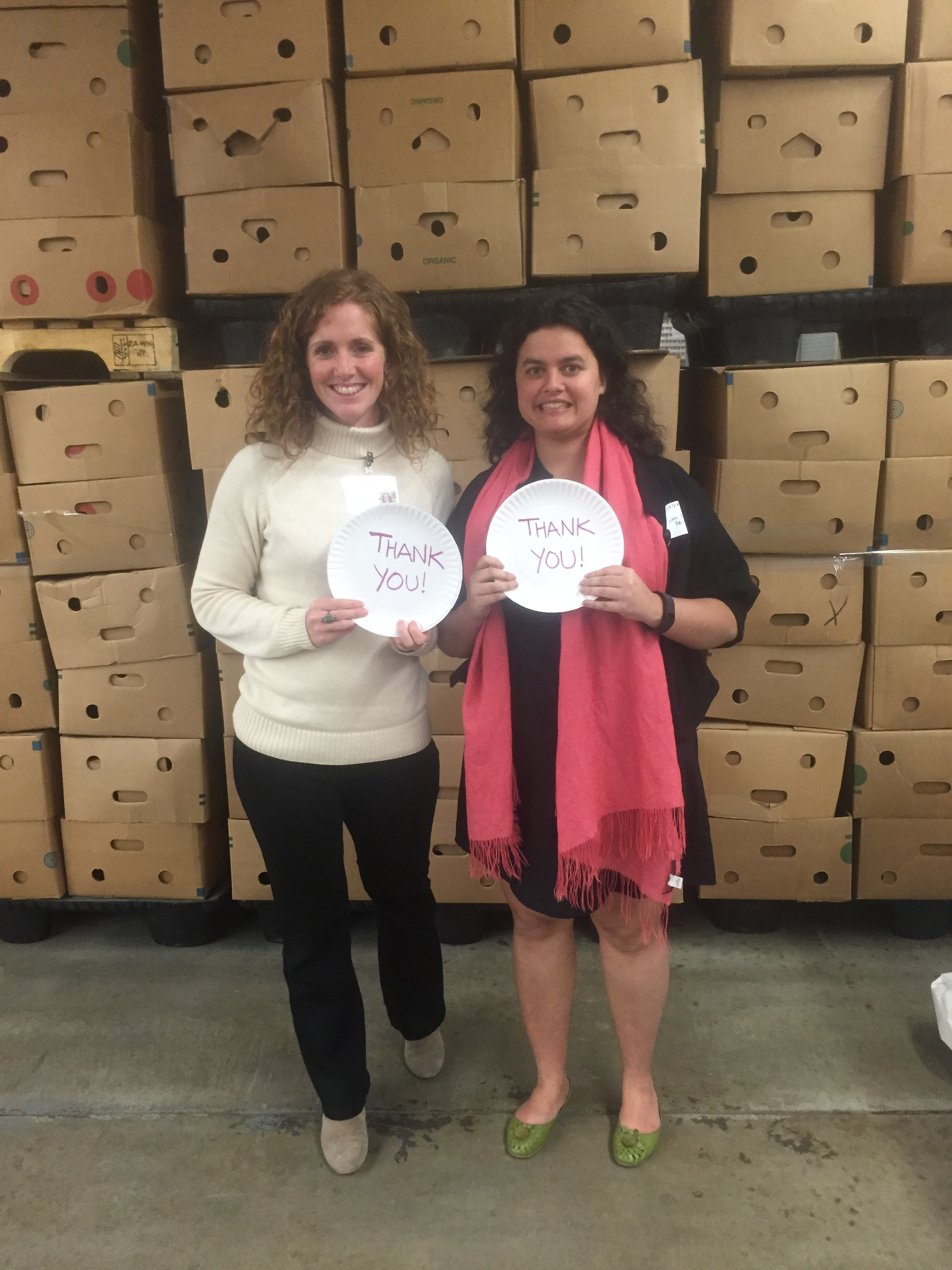 Liz Sheehan-Castro and Martha Assefa at Worcester County Food Bank