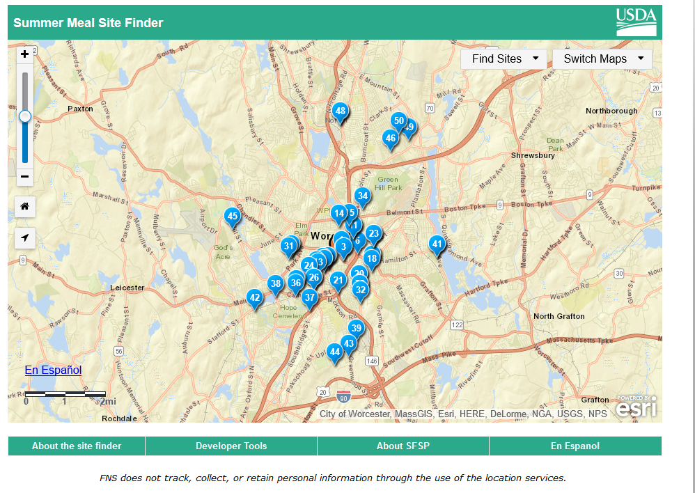 google map showing locations of free summer meals in Worcester from USDA website