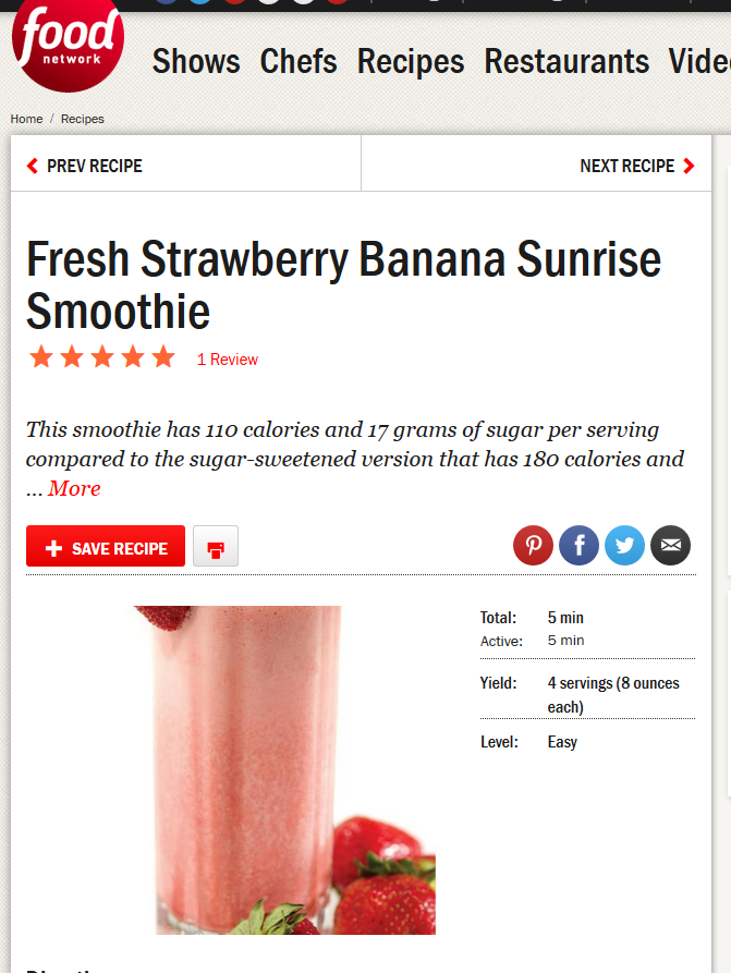 food network strawberry smoothie