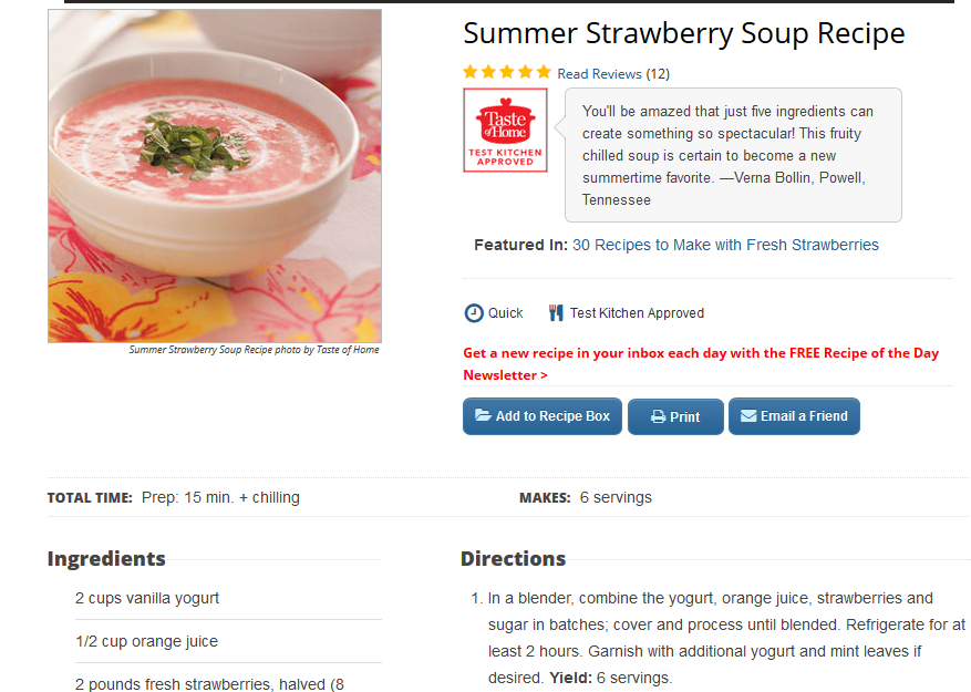 taste of home strawberry soup