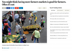 Screenshot of July 27 article on Farmers Markets in Boston Globe