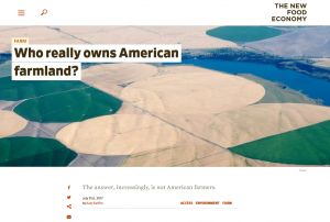 "Screenshot of The New Food Economy article ""Who owns American farmland?"""