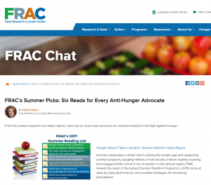 FRAC Anti-hunger Summer Reading List screen shot